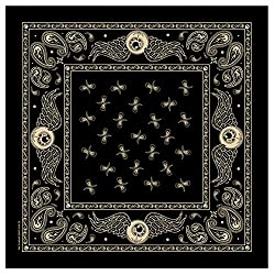 """Hot Leathers Signature Bikers Bandanas Collection Original Design, 21"""" x 21"""" - BANDANA FLYING EYEBALL PAISLEY SQUARE from Officially Licensed & Trademarked Products"""