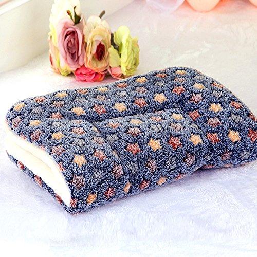 Hundehütten-Decke, dickes Kaschmir, süße, weiche Matte, Plüsch-Baumwolle, warm, gemütliches Kissen für Auto, Käfig, Hundehütte, Hundebett, blau