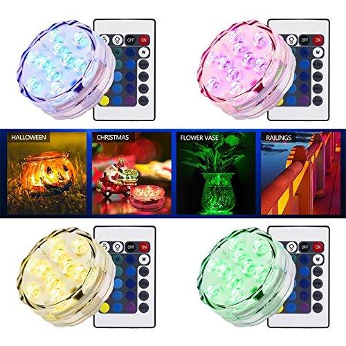 Simfonio Shisha Unterwasser Licht mit Fernbedienung, IP68 Wasserdichte Teichbeleuchtung RGB Unterwasser LED Licht für Vase Base Aquarium Teich Halloween Party Weihnachten(4 Stück)