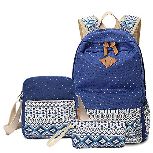 PUSPAC Leinwand dot Rucksack Cute Teen mädchen rucksäcke Set 3 stück Schule bookbags Unisex Casual Rucksack Satchel Bookbag (Farbe : Sapphire, Größe : 31x16x44cm)