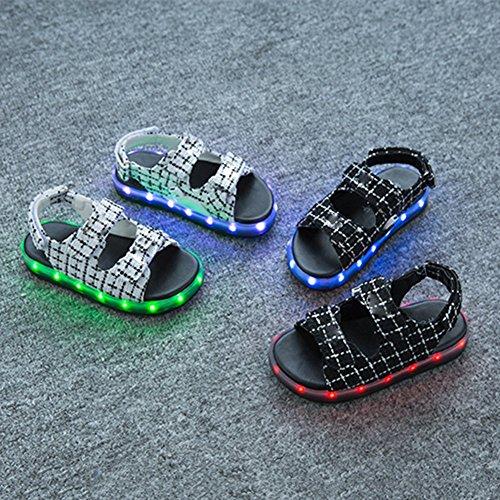 iBaste LED Sandalen Kinder Leuchtend Bunte 7 Lichtfarbe 11 Beleuchtenmodi Kinderschuhe Atmungsaktiv USB Aufladen Sommerchuhe für Kinder Jungen Mädchen Schwarz