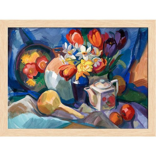 ArtzFolio Bouquet of Flowers D3 Canvas Painting Natural Brown Wood Frame 21.4 X 16Inch Bouquet Natural Wood