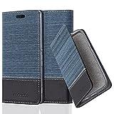 Cadorabo Hülle für Sony Xperia M4 Aqua - Hülle in DUNKEL BLAU SCHWARZ – Handyhülle mit Standfunktion und Kartenfach im Stoff Design - Case Cover Schutzhülle Etui Tasche Book