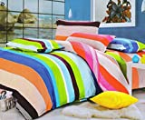 #9: HFI 140 TC Polycotton Double Bedsheet with 2 Pillow Covers - Multicolor