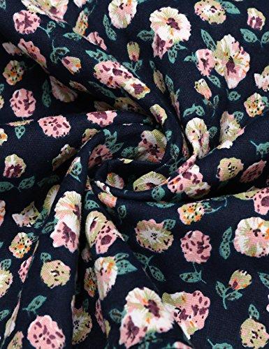 Finejo Damen Kleider Blumendruck 50s Retro Vintage Skaterkleid Langarm Rockabilly Kleid Partykleider Cocktailkleider A-Linie Kleid Stretch Basic Kleid Rundhals Mit Blumenmuster Schwarz