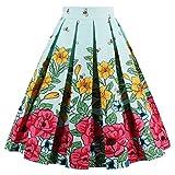 Minetom Femme Été Elegant Jupe Plissée Midi Vintage Imprimée des Fleurs Swing Taille Haute au Genou Sundress Abeille EU XL