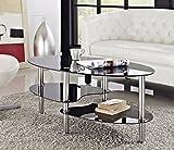 Vibrant Globe Modern Schwarz Glas & Chrom Oval Wohnzimmer Couchtisch mit 2Einlegeböden