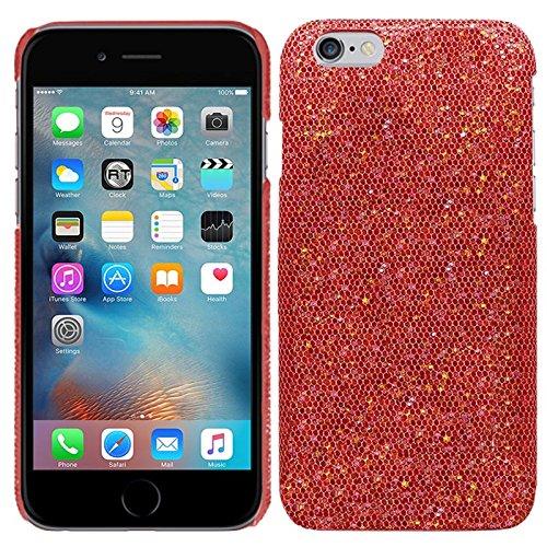 Apple iPhone 6S (4,7 Zoll) - Glitzer Schutzhülle Bling Hard Case Glitter Schutz Cover Etui Hülle Tasche in Schwarz - RT-Trading Rot