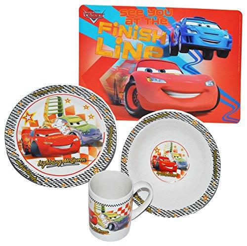 4 tlg. Geschirrset - Disney Cars - Porzellan Trinkbecher + Teller + Müslischale + Unterlage - Kindergeschirr Keramik Frühstücksset für Kinder Jungen - Lightni..