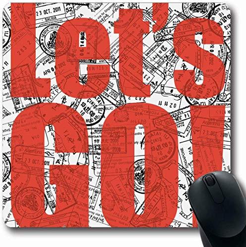 Luancrop Mousepad Oblong Interface Rotes Zitat Lets Go Travel Border Abstrakter Abenteuerslogan Inspiration Stempel Design Passbüro Computer Laptop Notebook Mauspad, rutschfestes Gummi -