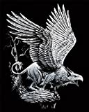 Kratzbilder - Kratzbild - Scraper schreiender Greif Fantasy Silber Größe 20 cm x 25 cm Komplettset