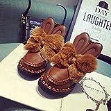 Spritech (TM) antideslizante de invierno para mujer cálido, diseño de conejo de piel de plana botas de nieve tobillo con Beaver borde de pelo de piel