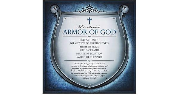 Blue Filigree Full Armor of God Ephesians 6 12 x 12 Wood Wall Art Plaque Sign Dicksons PLK1212-1222