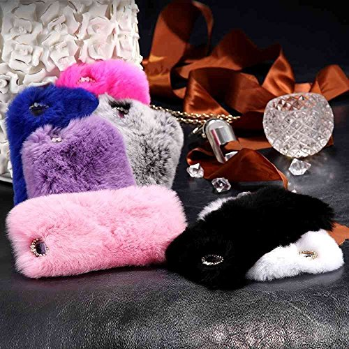 iPhone 8 Back Cover, elecfan Furry Case Luxury Women Girly Cute Bling Diamonds Bowknot Design Fluffy Soft Warm Case Protective Back Cover for Apple 4.7 Inch iPhone 8 (iPhone 8, Blau) Schwarz