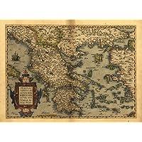 Riproduzione mappa dell'Antica Grecia, Abraham Ortelius, A178x