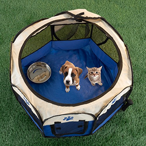 """PETMAKER Pop-Up Pet Playpen with Carrying Case for Indoor/Outdoor Use 26.5"""" x 17""""-Portable for Travel-Great for Dogs, Cats, Small Animals (Blue)"""