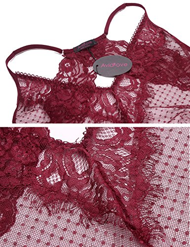 Avidlove Sexy Bodysuit Damen Spitze Negligee Babydoll Transparent Unterwäsche Rot