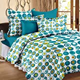 #4: Story@Home Candy 120 TC Cotton Double Bed Sheet with 2 Pillow Covers - Geometic Circles, Queen Size, Cyan and White