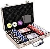 Da Vinci 200 Dice Striped 11.5 gram Poker Chip Set with Aluminum Case Dealer Button 2 Decks of Cards and 5 Dice