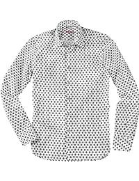 Signum Herren Hemd Kent Baumwolle Oberhemd Gemustert, Größe: XXL, Farbe: Weiß