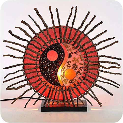 Deko-Leuchte Stimmungsleuchte Stehleuchte Tischleuchte Tischlampe Bali Lampe Feng Shui Yin & Yang Sonne Farbe Rot