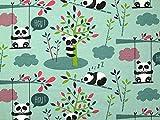 Panda Print Stretch Knit Jersey Kleid Stoff