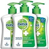 Dettol Liquid Handwash Dispenser Bottle Pump - Original Germ Protection Hand Wash (Pack of 3 - 200ml each) | Antibacterial Fo