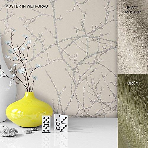 Vliestapete Vinyl Tapete mit Baummuster Weiß Grau in edelster Ausführung , außergewöhnliches Tapeten Muster in moderner Landhaus Natur Optik für Design Liebhaber, inkl. Tapezier Ratgeber von Newroom (Gratis-einfachheit-muster)