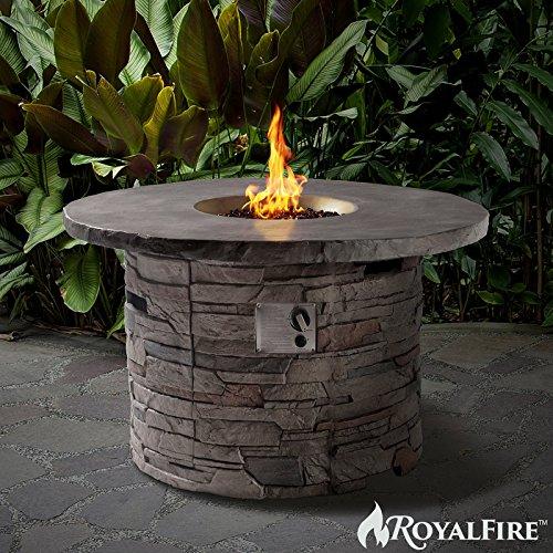 royalfire rfjc42501gf-ns Fiberglas Rund Gas Fire Pit–Naturstein;