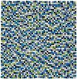 myfelt Fritz Filzkugelteppich, quadratisch, Schurwolle, grün/blau, 250 x 250 cm