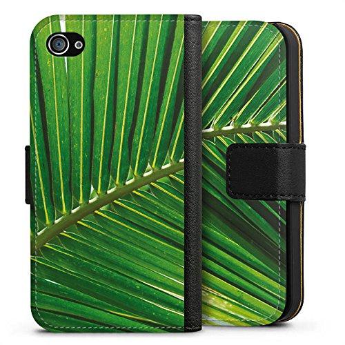 Apple iPhone X Silikon Hülle Case Schutzhülle Palmenwedel Blatt Natur Sideflip Tasche schwarz