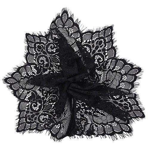 Jooks Large Dentelle DIY Couture Applique extensible garnitures de dentelle florale Craft Couture Appliquestretch Floral Dentelle 2,7 m 19 cm Noir