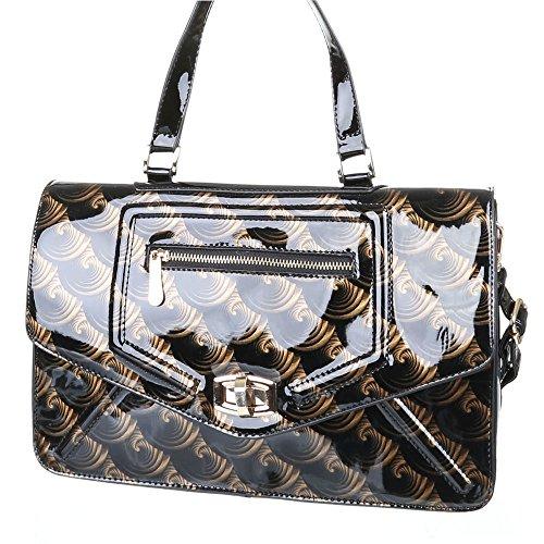 Damen Tasche, Mittelgroße Moderne Schultertasche, Kunstleder, TA-A1047 Schwarz Gold