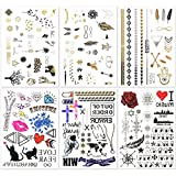 hakuna 6 sheets temporary tattoos - over 130+ long lasting fake tattoo designs in black, gold, sliver bling with colors. type: letter, star, bird, feather, cat, tree, etc.