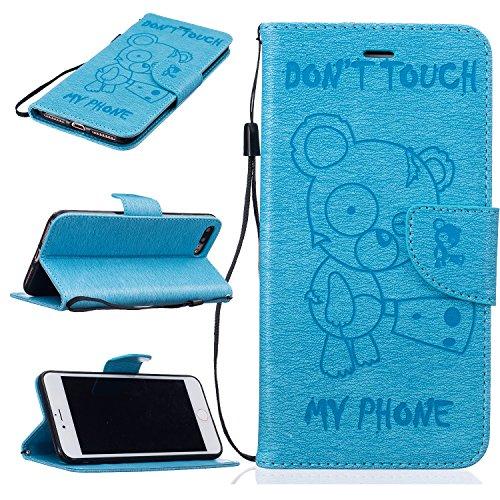 iPhone 7 PLUS 5.5 Custodia in Pelle Protettiva Flip Cover per iPhone 7 PLUS 5.5 Snap-on Magnetico Bookstyle TPU Case - Cozy Hut Fatto a Mano Custodia Wallet Protettiva Portafoglio Stand Case Magnetico Flip,ID Slot per Scheda - Progettazione Arrabbiato dell'orso,NON TOCCARE IL MIO TELEFONO - blue Bear