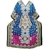 Mogul Interior Kaftan Modern Floral Printed Kimono Sleeves Caftan Dress