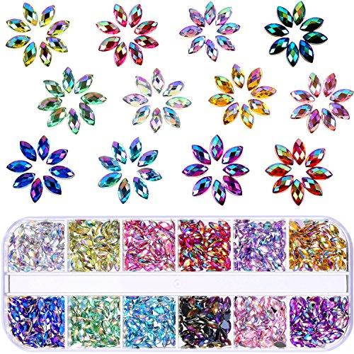 1200 Stück 12 Farben Glänzend Nagel Kunst Strass Pferd Auge Strass Flache Rückseite Nagel Gems Dekorationen Lieferungen mit Box
