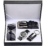 Souarts Herren Geschenkset mit Armbanduhr Männer Geldbörse Gürtel Sonnenbrillen Auto Schlüsselanhänger Geschenk Set für Herre