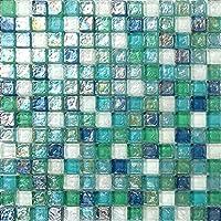 Mosaico de azulejos de cristal nacarado de color verde, azul, blanco y violeta, cristal martillado (MT0052) ...