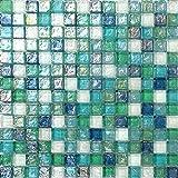 Glas Mosaik Fliesen in Grün, Blau, Weiß und mit violettem Perlmutt Schimmer gehammertes Glas (MT0052) ? (1qm (11 Matte))