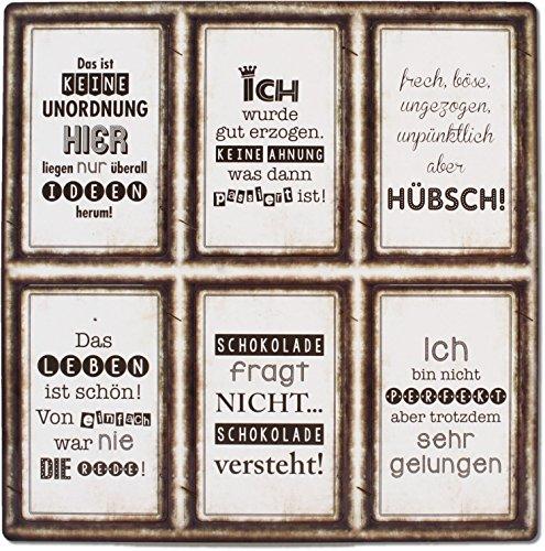 6 Schilder Magnete - Unordnung - keine Ahnung - hübsch - Leben - Schokolade - perfekt ! - Vintage 8,5 x 5,5 cm