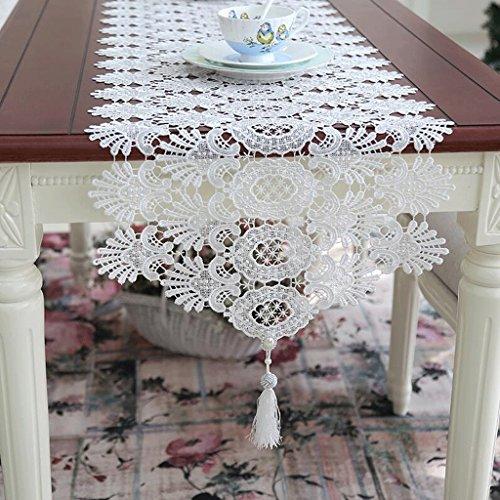 Preisvergleich Produktbild PRIDE S Hohle Spitze Tischdecke Couchtisch Stoff Weiß Korean Prinzessin Dekoration Tischläufer ( größe : 40*280cm )