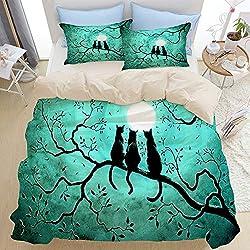 AIMILUX Ropa de Cama,Gato Negro Tres Abstracto Surrealista Hojas de otoño Rama de árbol Luna fantasía Halloween,1x Cubierta Colcha 240x260cm,2(50x80cm)