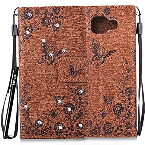 BtDuck Leather Case for Samsung Galaxy A3 2016 SM - A310 inch Stand Embossed Coffee Butterfly Rose Foliage Leaves Phone Protector PU Leather Flip Folio Bling Bling Cover Anti-slip Skin Outdoor Protection Simple Strict Shockproof Heavy Duty Robust Bumper Case Shell with Stander Oyster Card ( Travel Card Bus Pass)Holder Slots Pocket Kickstand Function Magnetic Closure Sparkling Rhinestones + 1 * Black Stylus Pen
