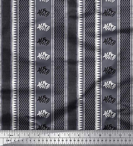 Soimoi Grau Baumwoll-Popeline Stoff Geometrisch & gestreifte Blumen Block Stoff drucken 1 Meter 42 Zoll breit (Grau Gestreifte Servietten)