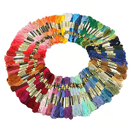 Tinksky Embroidery Threads Embroidery Floss Threads,100 Skeins(Random Color)