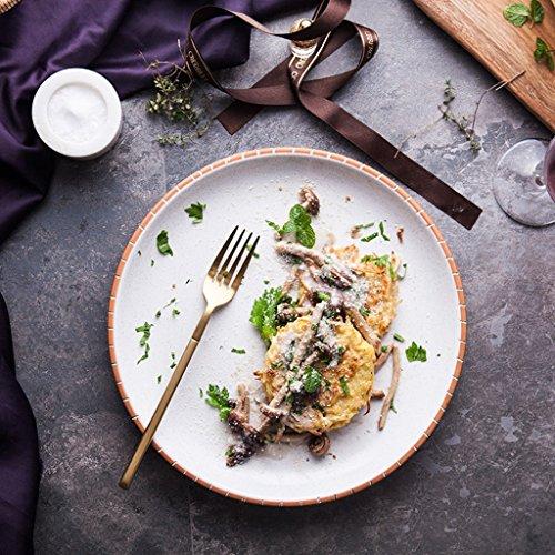 Yxsd Plats épais de Steak de Style Occidental d'assiette de Dessert Assiettes de Plat de Vaisselle de Plat Occidental 10 Pouces
