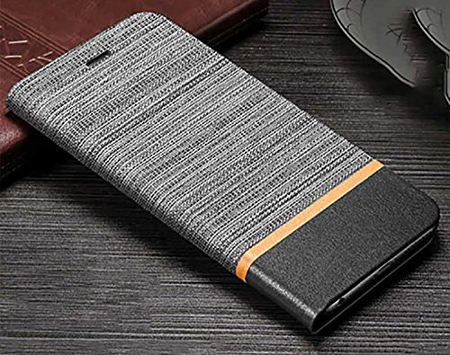 CaseteK for HTC Desire 626 G/628/630, Cloth + Pu Leather Slim Flip Wallet Case Stand with Card Holder Denim Cover for HTC Desire 626 G/628/630 - Grey & Black
