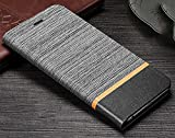 D-Kandy Denim Series Cloth + Leather Flip Wallet Case Stand with Card Holder Cover for Nokia 6.1 Plus + (2018) - Grey & Black