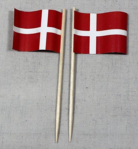 Dänemark Papierfähnchen in Profiqualität 50 Stück 8 cm Offsetdruck Riesenauswahl aus eigener Herstellung ()